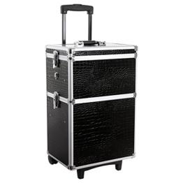 Songmics® alukoffer trolley Kosmetikkoffer größe XL 2 in 1 croco schwarz JHZ03B -