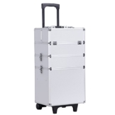 Songmics® Trolley Kosmetikkoffer XXL Größe für Gepäck Hartschale mit 2 rolls Silber JHZ01S -