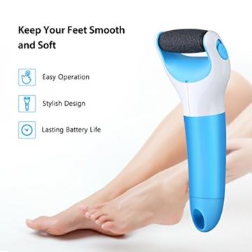 OMorc Elektrische Hornhautentfernung, Wasserdicht Electronic Fußfeile, Nachladbar, Schnurlos, Doppelgeschwindigkeit für zu Hause und Salon -