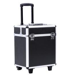 Songmics® leicht trolley Kosmetikkoffer für gepäck hartschale mit 2 rolls schwarz JHZ12B -